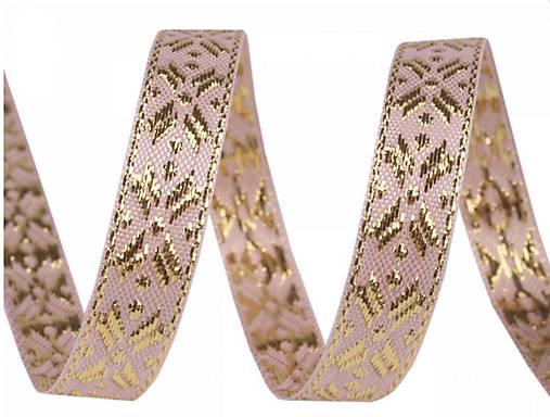 Ozdobná stuha prešívana zlatou 10mm