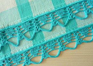 Úžitkový textil - Utierka s háčkovaným okrajom, tyrkysovo- biela - 7165572_