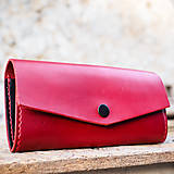 Dámska kožená červeno-čierna peňaženka XXL