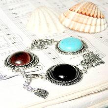 Náramky - Multi Gemstone & Heart / Náramok s rôznymi minerálmi v starostriebornom prevedení - 7168903_