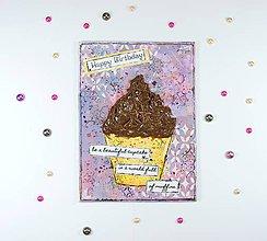 Papiernictvo - Veľká pohľadnica k narodeninám s cupcake a čokoládovou polevou - 7167502_