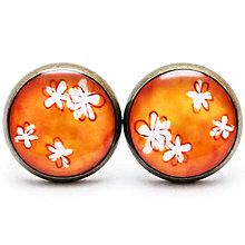 Náušnice - Jemné kvetinky - oranžové - 7168843_