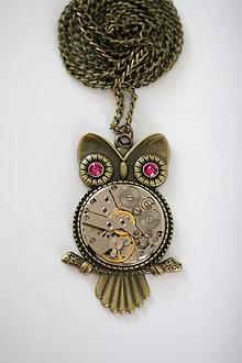 Náhrdelníky - Steampunkový náhrdelník Sovička - 7169053_
