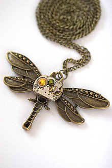 Náhrdelníky - Steampunkový náhrdelník Vážka - 7169095_