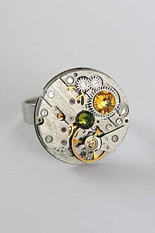 Prstene - Steampunkový prsteň a Swarovski - 7169286_