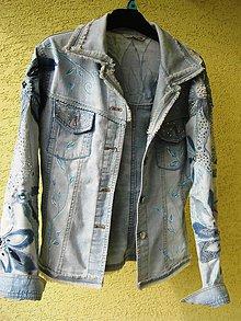 Kabáty - Akcia - riflová bunda zdobená - 7170984_