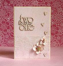 Papiernictvo - two become one - svadobné prianie - 7170982_