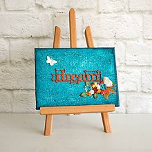 Obrazy - dream / snívaj - motivačný obrázok v tyrkysovo-červenej kombinácii s kvetmi - 7169714_