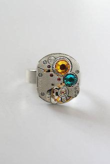 Prstene - Steampunkový prsteň a Swarovski - 7170056_