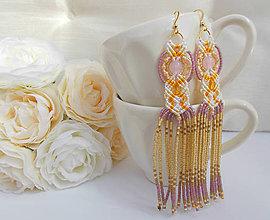 Náušnice - Dlhé korálkové makramé náušnice žlto-bielo-ružové - 7171303_