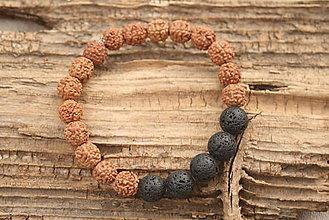 Šperky - Náramok rudrakša a lávový kameň - 7177202_