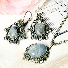 Sady šperkov - Vintage Labradorite & Ornaments Set / Set šperkov s labradoritom v bronzovom prevedení - 7173525_