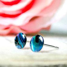 Náušnice - Paua & Stainless Steel Stud Earrings / Drobné napichovacie náušnice z paua perlete (chir. oceľ) - 7174092_