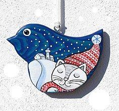 Dekorácie - Závěsný ptáček ❄ Kočičí snění - 7177229_