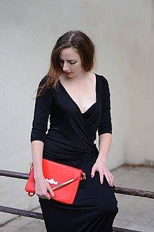 Kabelky - Listová kabelka Red/Gold so soutache aplikáciou - 7175049_
