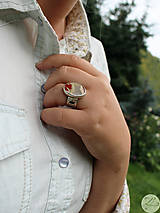 Prstene - Strieborný unikátny vintage prsteň s jaspisom- Rokoko Queen - 7177008_