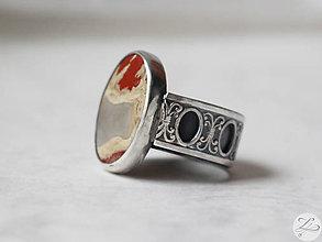 Prstene - Strieborný unikátny vintage prsteň s jaspisom- Rokoko Queen - 7177010_