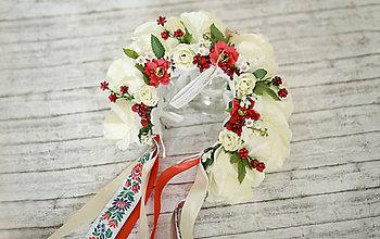 Ozdoby do vlasov - Svadobná kvetinová parta maky - 7178414_