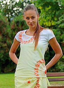 Tričká - Dámske tričko batikované, maľované, etno HINA - 7174154_