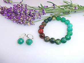 Sady šperkov - acháty náušnice náramok súprava - 7174648_