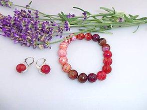 Sady šperkov - achát náramok náušnice jeseň - 7174667_