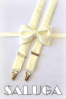 Doplnky - Pánsky set motýlik + traky ivory, maslový, krémový - 7174267_