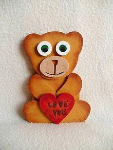 Dekorácie - Srdečný drevený macko - 7176074_