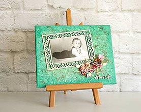 Rámiky - Cherish  - Nežný rám / obraz na fotku - zelený mentolový s ružovými kvetmi (na fotku 10x15 cm) - 7175686_