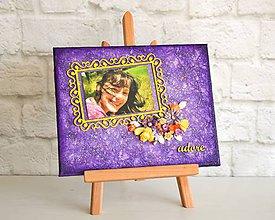 Rámiky - Adore - výrazný fialovo - žltý obraz / ozdobný rám na fotku (10x15) s kvetmi - 7175741_