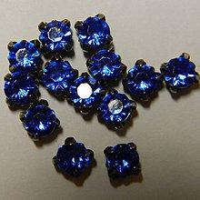 Iný materiál - štrasové kamienky kruhové 5 mm sklenené (modré) - 7178143_