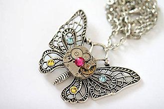 Náhrdelníky - Steampunkový náhrdelník Motýlik - 7176129_