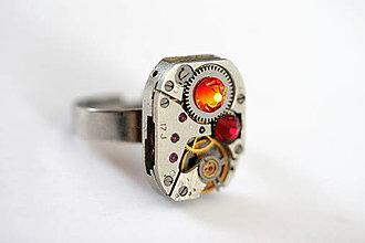 Prstene - Steampunkový prsteň a Swarovski - 7176152_