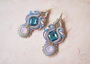 Náušnice - Blue - Pink šujtášové náušnice - 7176556_