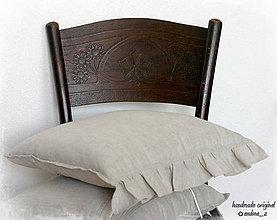 Úžitkový textil - ľanový vankúš s volánikom - 7175506_