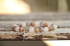Náramky - Náramok z minerálu slnečný kameň, achát - 7174117_