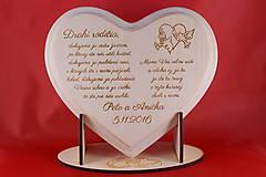Darčeky pre svadobčanov - Poďakovanie rodičom - lipové srdiečko + stojanček 6 - 7176626_
