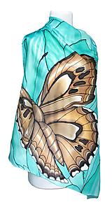 Hodvábna šatka - Motýľ a lotosový kvet