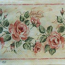 Papier - S790 - Servítky - vintage ruže, roses, nostalgia - 7180136_