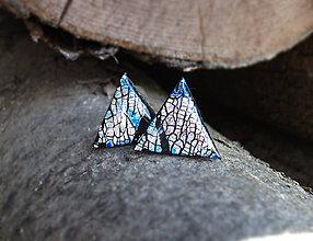 Náušnice - Trojuholníky 20 mm s kovovým efektom (modré) - 7178817_