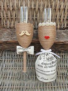 Nádoby - Svadobné poháre Lips & Moustache Vintage - 7178727_