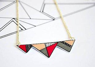 Náhrdelníky - Náhrdelník Geometrický ružový - 7180455_