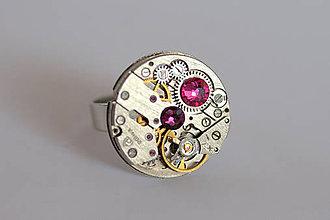Prstene - Steampunkový prsteň a Swarovski - 7179523_