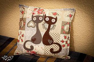 """Úžitkový textil - Vankúšik """" Zaľúbené mačičky """" - 7185115_"""