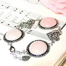Náramky - Rose quartz & Heart / Náramok s ruženínom v starostriebornom prevedení - 7182791_