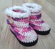 Topánočky - Ružové melírované čižmičky - 7184515_