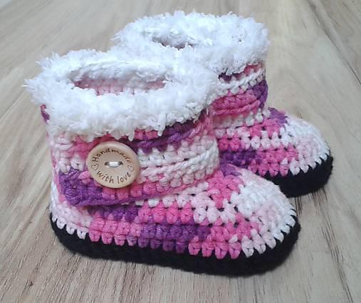 Ružové melírované čižmičky