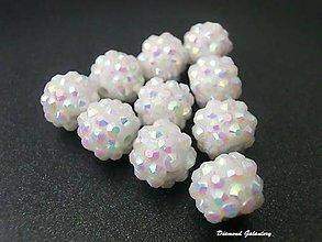 Korálky - Shamballa korálky akrylové - AB biele - 7184806_