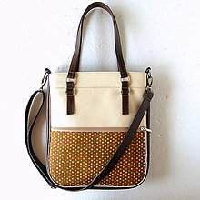 Veľké tašky - Basic - Zipp - Tmavohnedá s bodkami II. - 7182856_