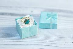Prstene - Pozlátený prsteň s tyrkysovým očkom (12 mm) - 7183525_