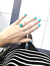 Prstene - Pozlátený prsteň s tyrkysovým očkom (12 mm) - 7183527_